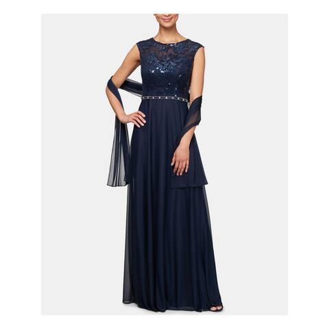 ALEX EVENINGS Navy Sleeveless Full-Length Dress 10