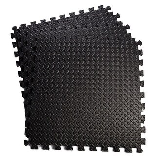 Giantex 48 Sq Ft EVA Foam Floor Interlocking Mat Show Floor Garage Gym Mat (Black)