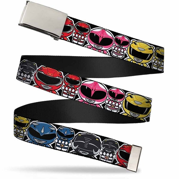 Blank Chrome Buckle Power Rangers Chibi W Faces Close Up Webbing Web Belt