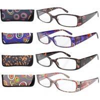 Eyekepper Geometric Temples Spring Hinge Reading Glasses (4 Pairs Mix)+2.0