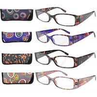 Eyekepper Geometric Temples Spring Hinge Reading Glasses (4 Pairs Mix)+2.25