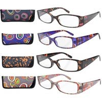 Eyekepper Geometric Temples Spring Hinge Reading Glasses (4 Pairs Mix)