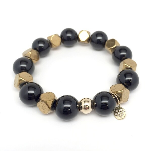 3ad44f8e7fdf43 Shop Julieta Jewelry - 14K Gold Over Sterling Silver 12Mm Black Onyx, Gold  Hematite 'Enlighten' 7