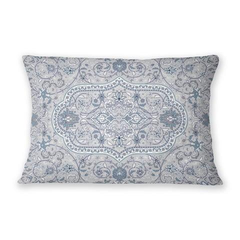 EMPIRE GREY & BLUE Indoor Outdoor Lumbar Pillow By Marina Gutierrez