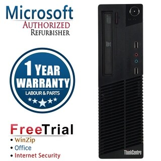 Refurbished Lenovo ThinkCentre M92P SFF Intel Core I5 3470 3.2G 8G DDR3 320G DVD Win 7 Pro 1 Year Warranty - Black