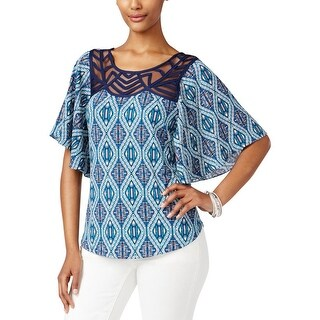 NY Collection Womens Petites Casual Top Flutter-Sleeve Printed - pxl
