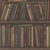 Brewster 2604-21229 Atheneum Burgundy Antique Books Wallpaper - N/A
