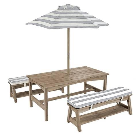 Outdoor Table & Bench w/ Cushions & Umbrella - Gray & White