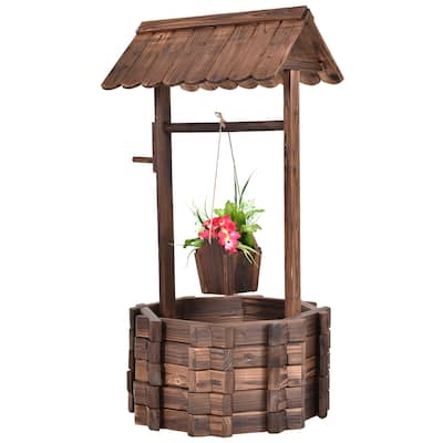 Outdoor Wooden Wishing Well Planter with Hanging Bucket