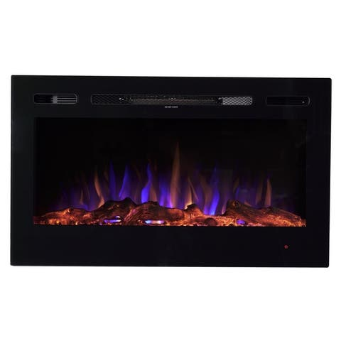 """36"""" LED Wall Mounted or Recessed Electric Fireplace - Log Wood Effect"""