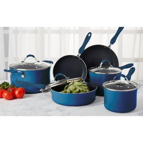 Denmark 10-piece Mediterranean Blue Aluminum Cookware Set