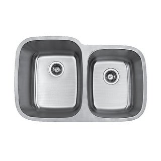"""Builder's Choice 32"""" 60/40 Undermount Double Bowl Stainless Steel Sink"""