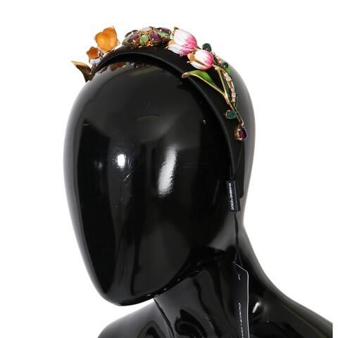 Dolce & Gabbana Black White Tulips Gold Crystal Women's Headband - One Size