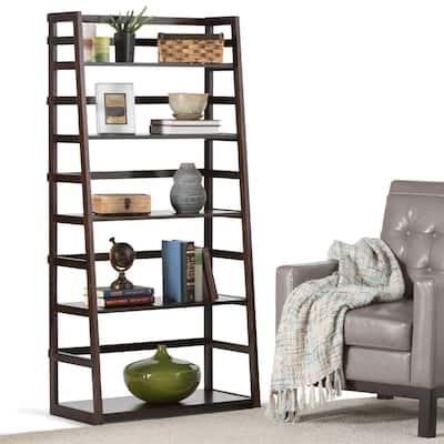 """WYNDENHALL Normandy SOLID WOOD 63 inch x 30 inch Transitional Ladder Shelf Bookcase - 30""""w x 15.9""""d x 63""""h"""