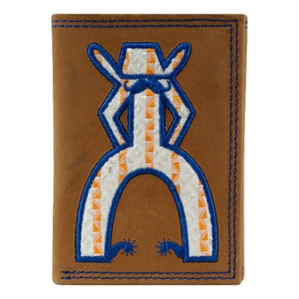 HOOey Western Wallet Men Trifold Punchy Embroidered Tan Navy - 3 x 3/4 x 4