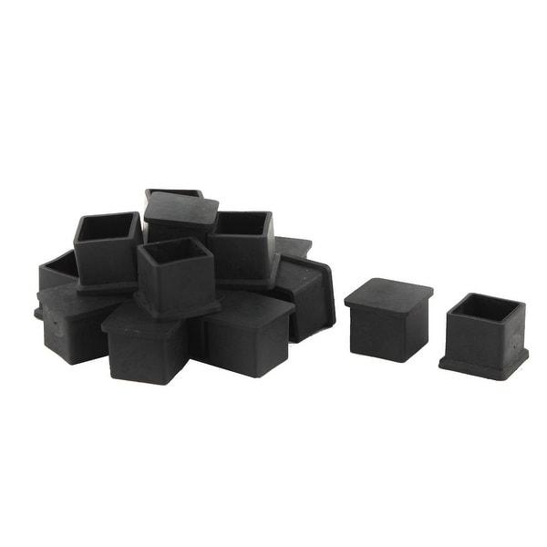 Unique Bargains 18 Pcs Antislip Rubber Square 22mm x 22mm Chair Foot Cover Table Furniture Leg Protector Black