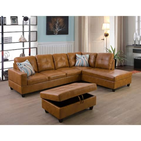 3-Pieces Sectional Sofa Set,Right Facing Ginger(09517B)