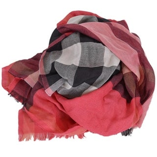 "Burberry Women's Cashmere Silk Bright Rose Half Mega Nova Check Scarf - 68"" x 19"""