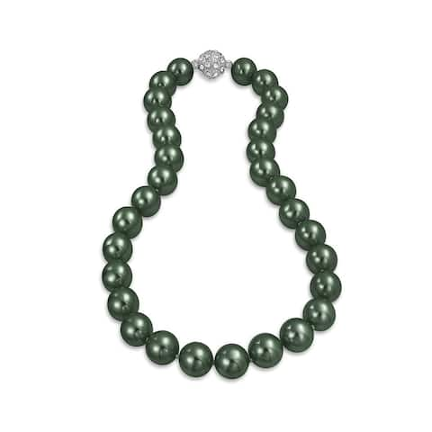 Black Peacock Strand Necklace For Women Rhodium Plated Crystal Clasp Imitation Pearl 12mm 16 inch