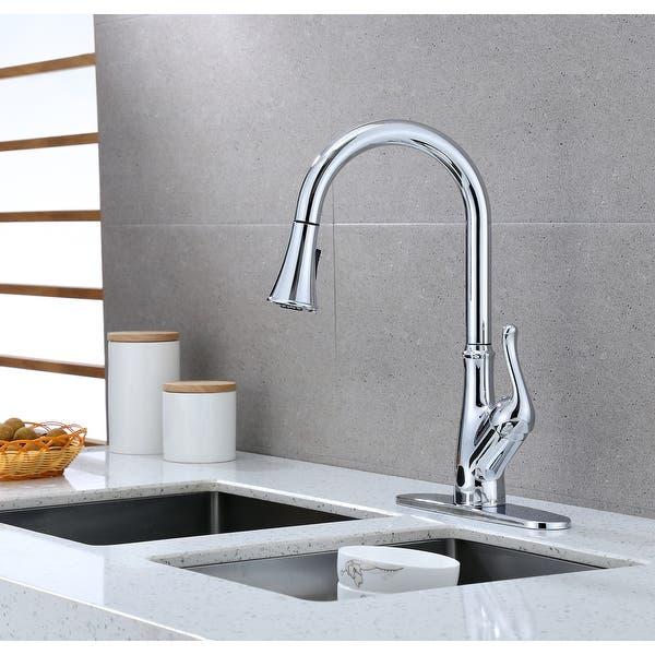 Runfine Brisbane Single Handle Pull Down Sensor Kitchen Faucet Chrome Finish Overstock 31810895