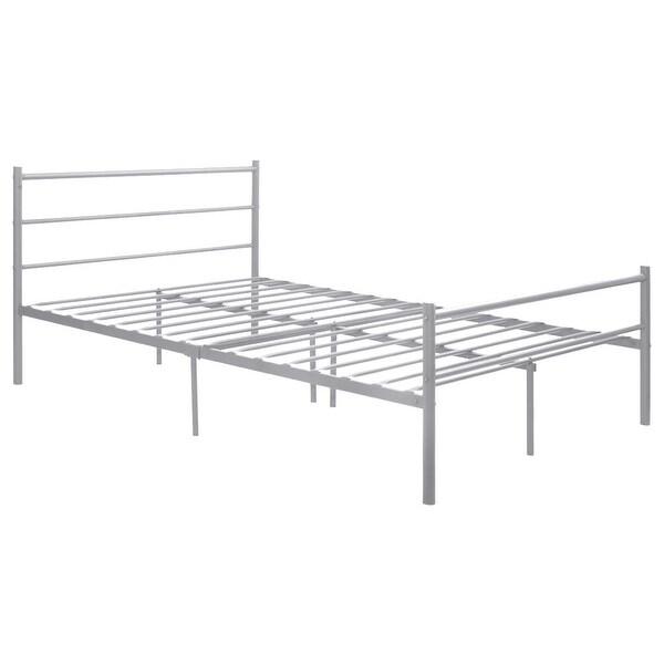 Shop Costway Sliver Full Size Metal Bed Frame Platform Headboard 10 ...
