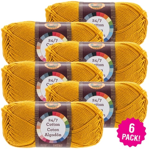 Lion Brand 24/7 Cotton Yarn - 6/Pk-Goldenrod - Orange