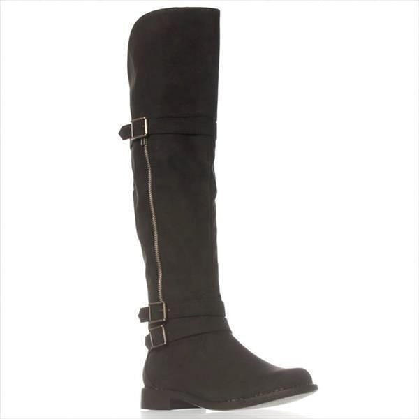 Just Fab Womens Aysling WIDE Closed Toe Mid-Calf Fashion Boots