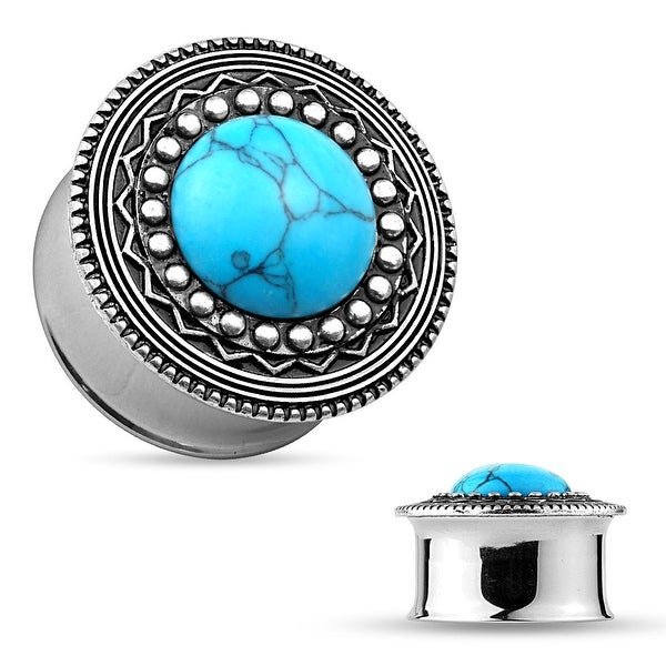 Turquoise Antique Silver IP Tribal Shield Top Surgical Steel Flared Tunnel (Sold Ind.)