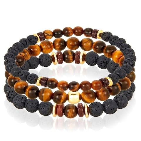 Tiger's Eye Stone with Hematite, Lava Beaded Stretch Bracelet Set of 3