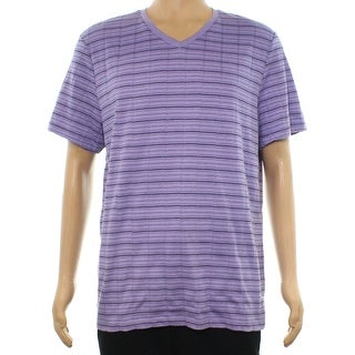 Alfani NEW Purple Mens Size Large L Striped Short-Sleeve V Neck T-Shirt 393