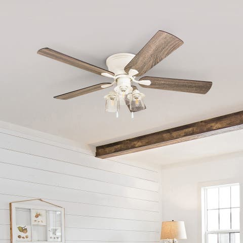 The Gray Barn Osborne 52-inch Coastal Indoor LED Ceiling Fan with Pull Chains 5 Reversible Blades - 52