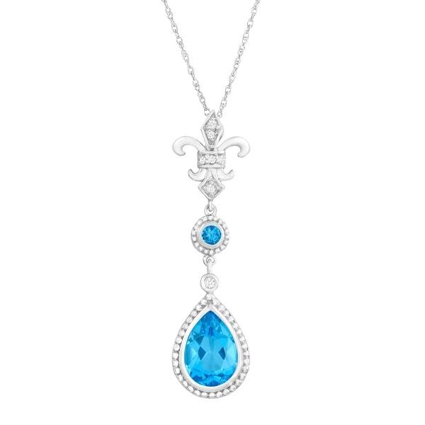 2 1/3 ct Natural Swiss Blue Topaz Fleur-de-Lis Pendant with Diamonds in 14K White Gold