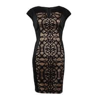 Connected Women's Cap Sleeve Lace Panel Sheath Dress