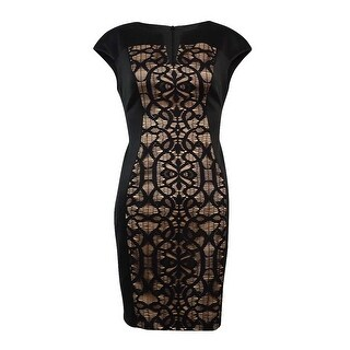 Connected Women's Cap Sleeve Lace Panel Sheath Dress - Black/gold