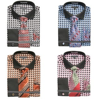 Men's Corner Check Dress Shirt with Tie Handkerchief Cufflinks