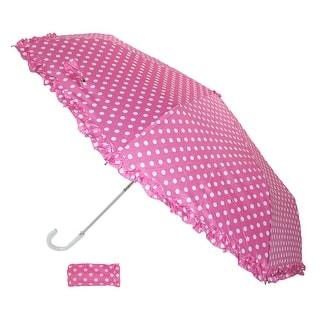 iRain Women's Ruffle and Polka Dot Compact Hook Handle Umbrella - Pink - One Size