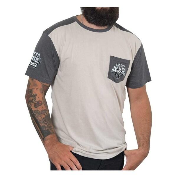 Harley-Davidson Men's Medals Premium Short Sleeve Raglan Pocket Tee, Ivory