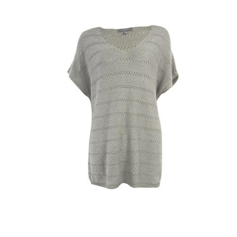 NY Collection Women's Metallic Dolman Sleeve Knit Sweater - Sterling - M