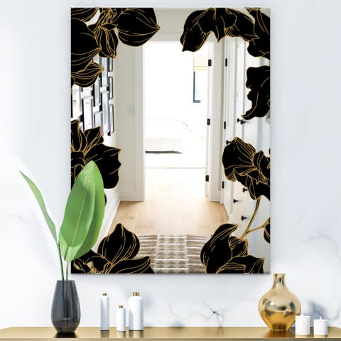 Designart 'Gold Botanical Obsidian 8' Glam Mirror - Modern Floral Vanity Mirror