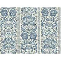 York Wallcoverings KC1843 Blue Book Floral Damask Stripe Wallpaper - french blue/soft ivory - N/A