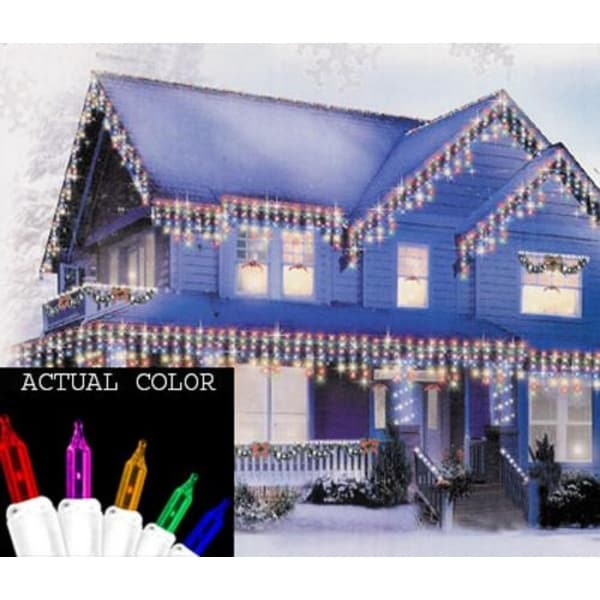 Set of 150 Heavy-Duty Indoor or Outdoor Multi Icicle Lights - White Wire Connect 6
