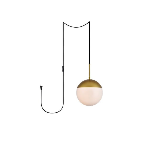 "Elian 1-Light Plug in Pendant with Frosted White Shade - Brass - 10"" Diameter. Opens flyout."