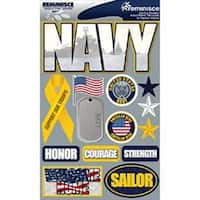 "Navy - Signature Dimensional Stickers 4.5""X6"" Sheet"