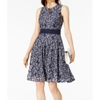 Taylor Blue Womens Size 2 Lace Floral Sleeveless Sheath Dress