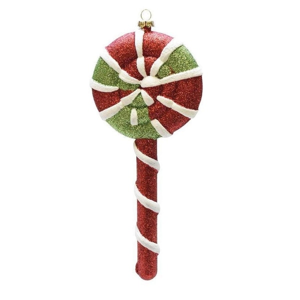"8.5"" Merry & Bright Red, White and Green Glitter Swirl Shatterproof Christmas Lollipop Ornament"