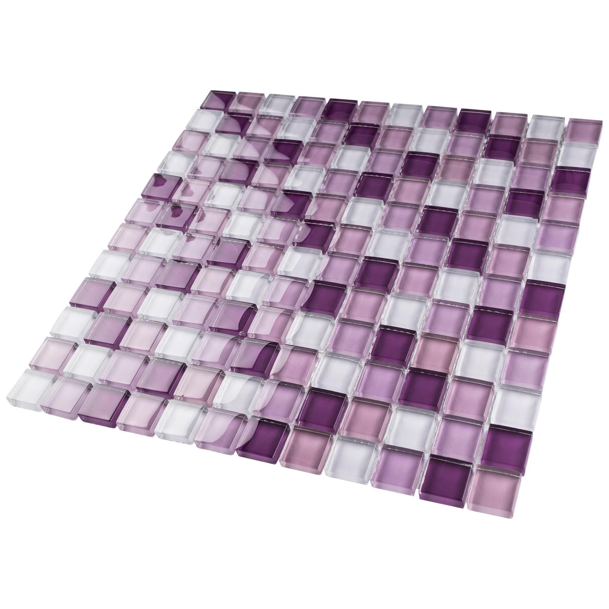 Tilegen Grid 1 X 1 Glass Mosaic Tile In Mix Purple Wall Tile 10 Sheets 9 6sqft Overstock 27973527