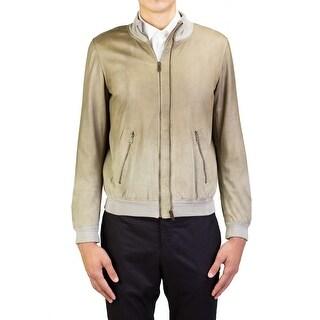 Yves Saint Laurent Men's Treated Leather Bomber Jacket Khaki