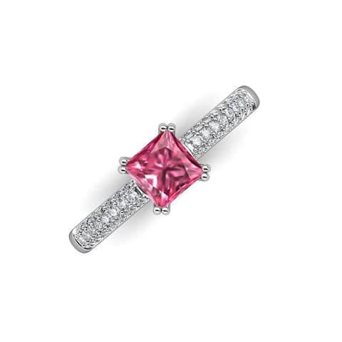 TriJewels Pink Tourmaline Lab Grown Diamond Engagement Ring 14K Gold