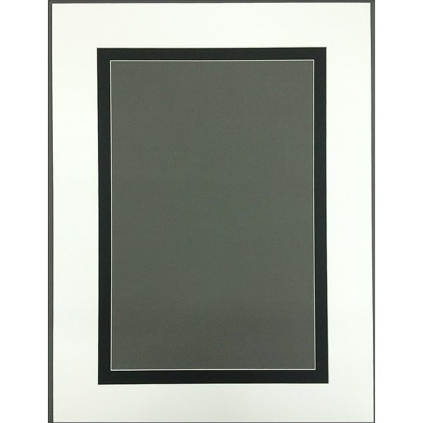 Pack of 5 18x24 Black Picture Mats with White Core Bevel Cut for 13x19 Pictures