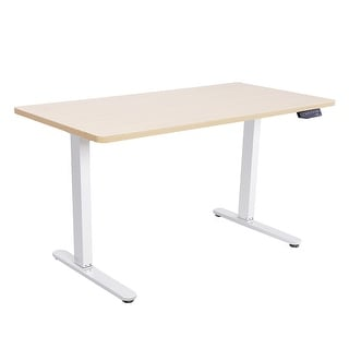 "55"" Wide Electric, Dual Motor, Height Adjustable Sit and Stand Solid Steel Desk with 7-Button Control Pad (Option: Tan)"